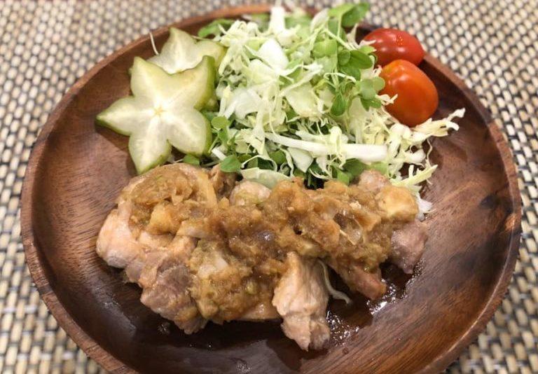 スターフルーツソースで豚の生姜焼き