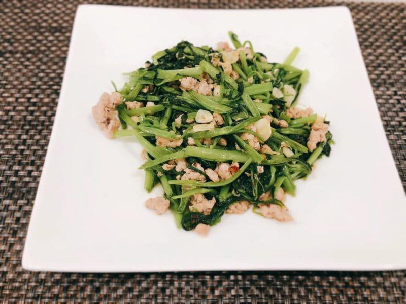 空心菜とひき肉のベトナム風炒め